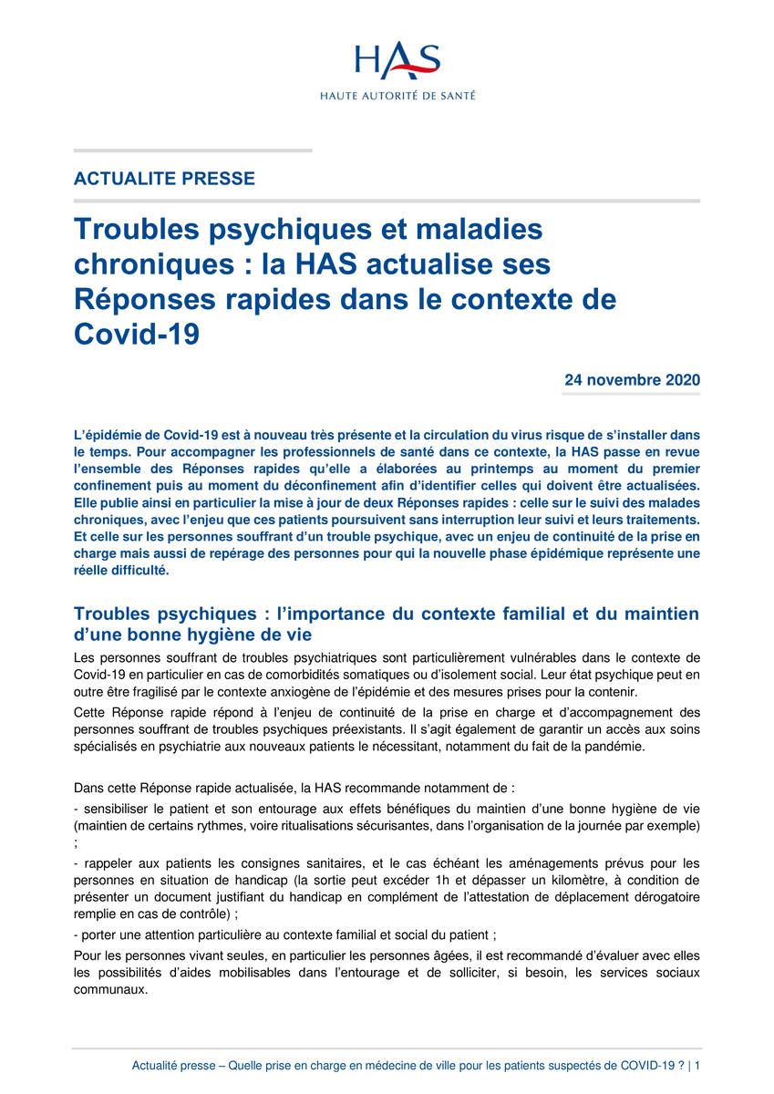 #COVID19 | Actualisation – Prise en charge ambulatoire des troubles psychiques #SantéMentale ⚠ Les personnes souffrant de troubles psychiques sont particulièrement vulnérables #Communiqué 👉https://t.co/UTx660HosR La réponse rapide 👉 https://t.co/EvK5CUzjts https://t.co/fzkgAVZZld