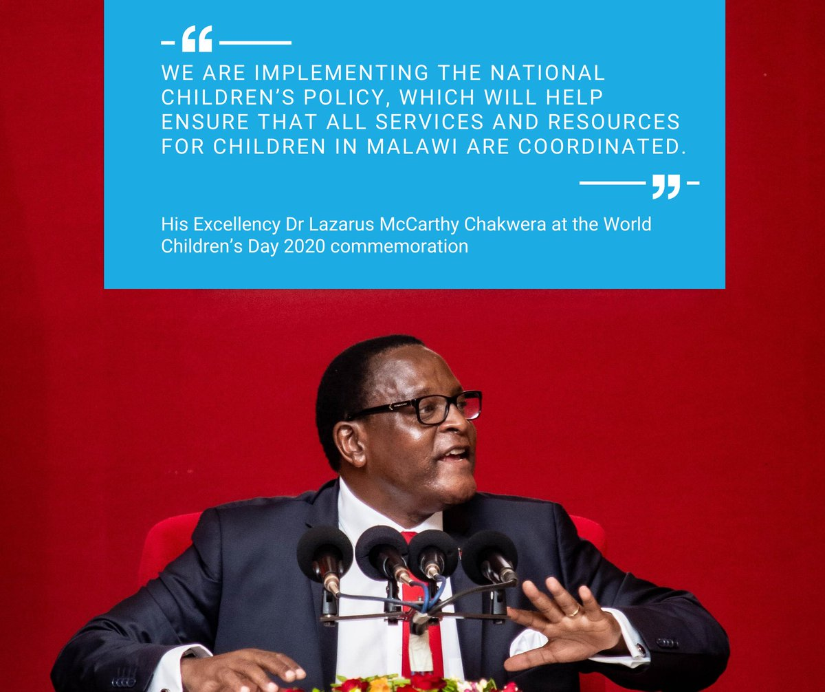 At this year's World Children's Day commemoration, the State President, Dr. Lazarus McCarthy Chakwera made concrete commitments to safeguard the rights of children in Malawi. 👏 👏   #ForEveryChild #WCD2020 https://t.co/eUetySfJ7o