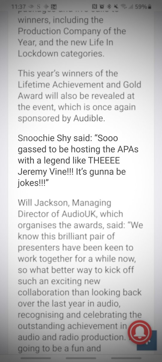 Love the quote @snoochieshy ❤️  📰Jeremy Vine & Snoochie Shy to host Audio Production Awards https://t.co/2dPjoc7Fpd https://t.co/9VBMXLLIP3