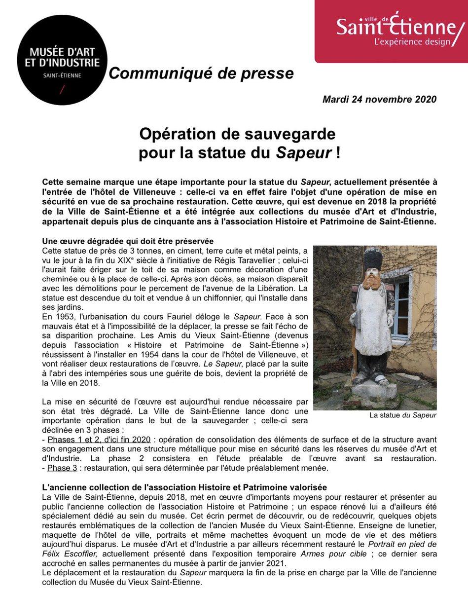 [#Communiqué] Opération de sauvegarde pour la statue du Sapeur !  https://t.co/oAXmFb1Jho https://t.co/Yz69wXgpiW