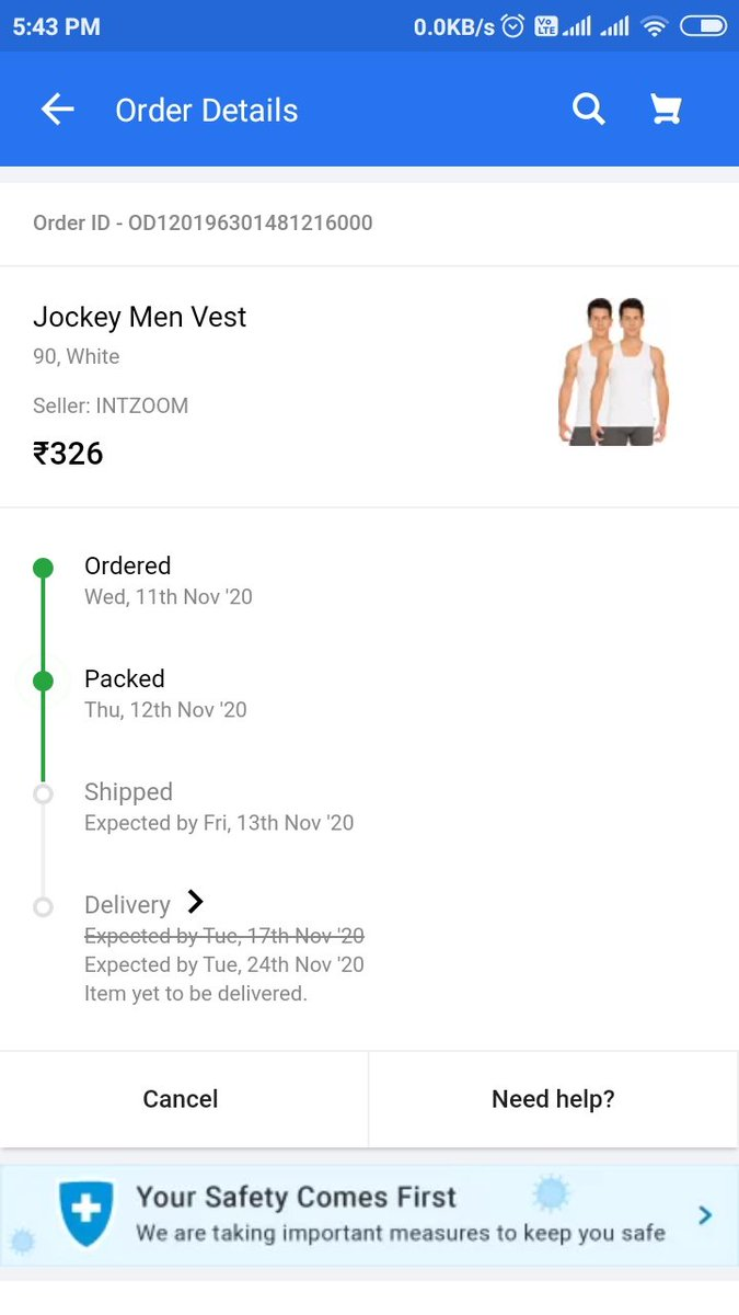 #Flipkart i ordered something on flipkart on 11 nov 2020 and the delivery date was 17th November 2020.... But it was not done till that day and the delivery date was changed to 24th November 2020 which is today's date. But till now my product is not shipped.