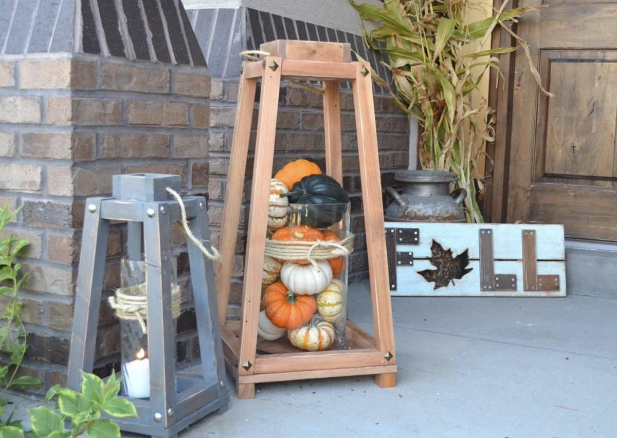 Get your porch ready for Thanksgiving 🦃  Build your own Rustic Wood Lanterns with free project plans from #RyobiNation