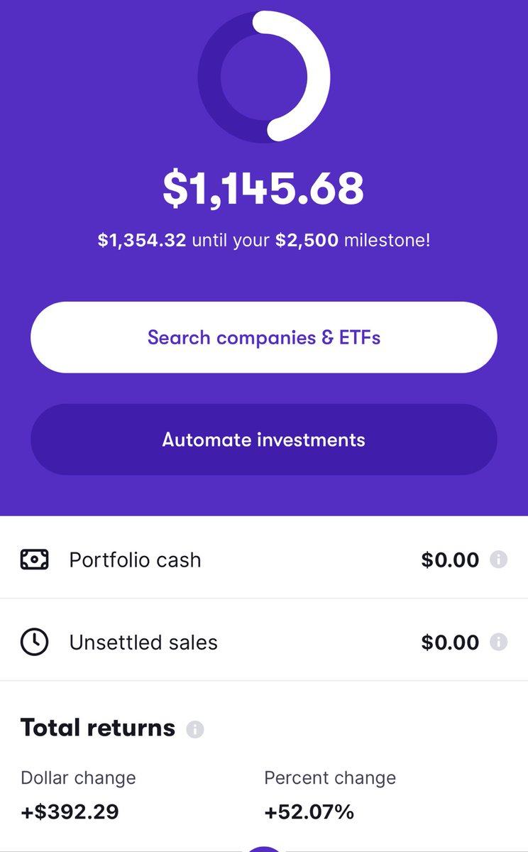 I'm almost at a 400$ return and this is minus my investment I made last night and I had no idea what i was doing at first 😍😍😍 #Stash #StashStockParty I only been playing with stocks for 4 months