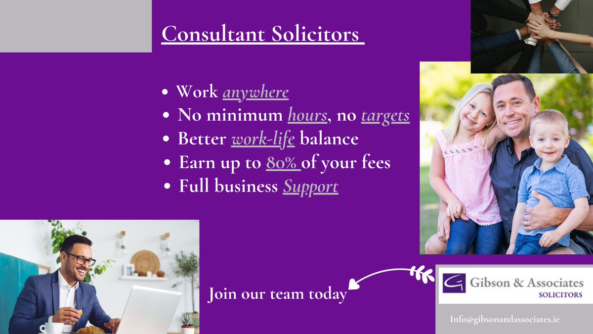 Becoming a #Consultant #Solicitor, allows you to adapt and embrace the 'new normal'. #workingfromhome #workanywhere #legaladvice #law #ireland #worklifebalance #support #FolloForFolloBack #tuesdayvibe #COVID19 #ireland #irish