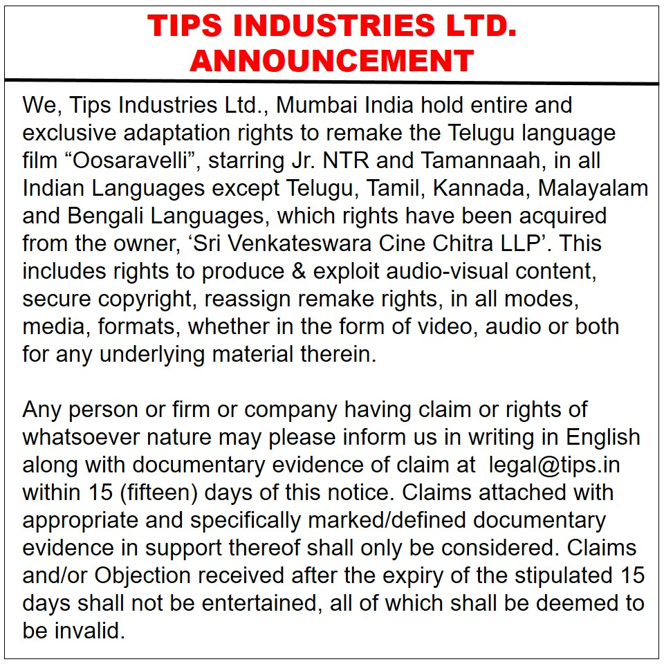 Announcement from Tips Industries Ltd.