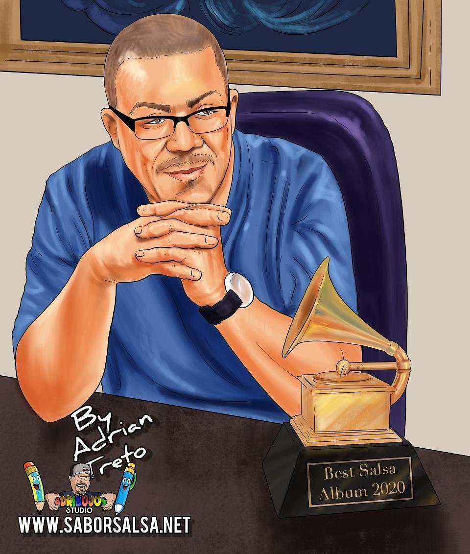 Este reconocimiento también es para ti Maestro Jairo Varela, que creaste está majestuosa orquesta llamada Grupo Niche y que ahora nos guías desde el cielo para continuar con tu legado 🙌🏿🎶       ilustración por el talentoso Adrián Treto   #GrupoNiche #40GrupoNiche #LatinGRAMMY