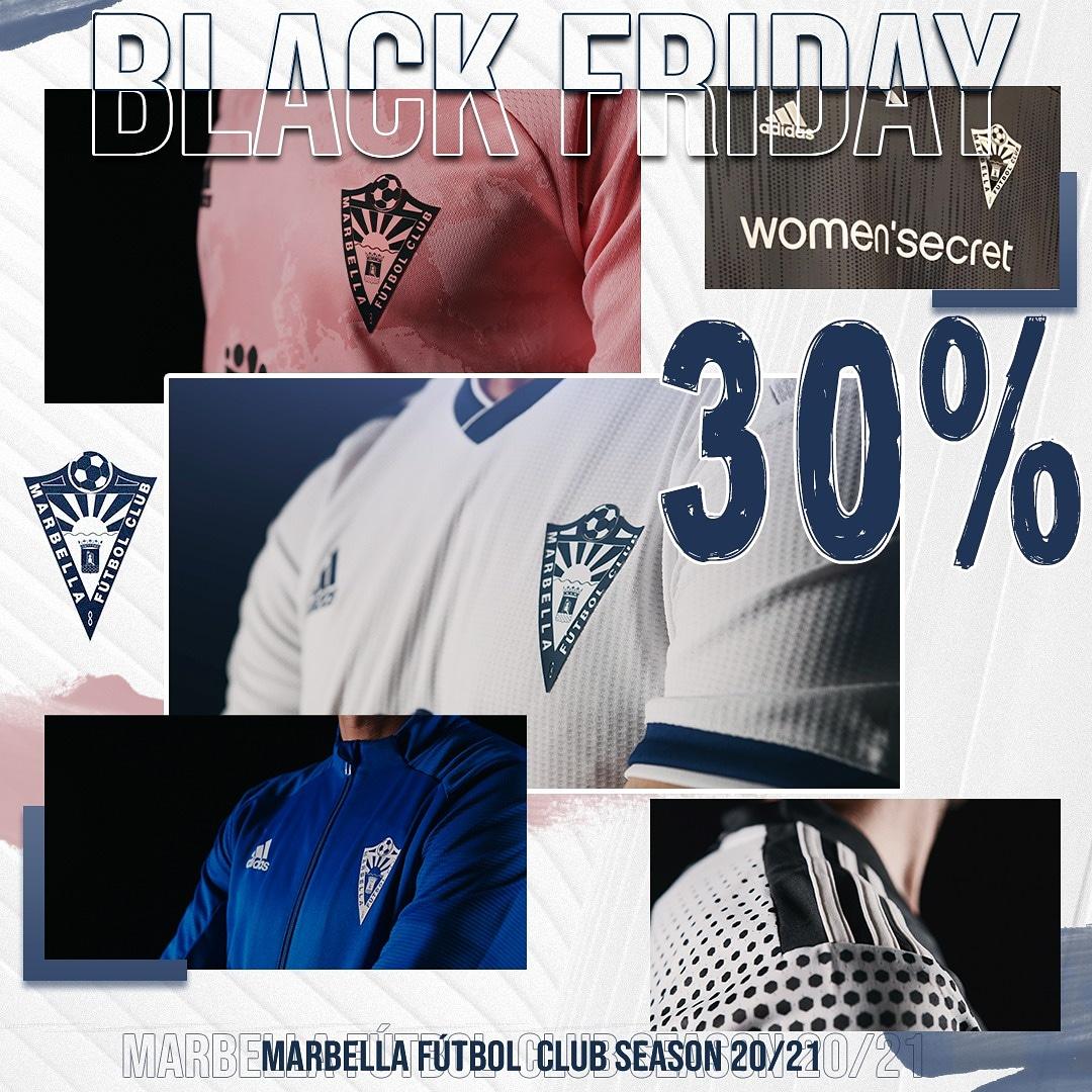 ⚫ ¡¡¡ 𝙱𝙻𝙰𝙲𝙺 𝙵𝚁𝙸𝙳𝙰𝚈 en el #MarbellaFC !!!  Disfruta del 3️⃣0️⃣ % de descuento en todo el merchandising del club durante esta semana de 𝙱𝙻𝙰𝙲𝙺 𝙵𝚁𝙸𝙳𝙰𝚈 y hasta el próximo lunes 30 de noviembre, 𝙲𝚈𝙱𝙴𝚁 𝙼𝙾𝙽𝙳𝙰𝚈.