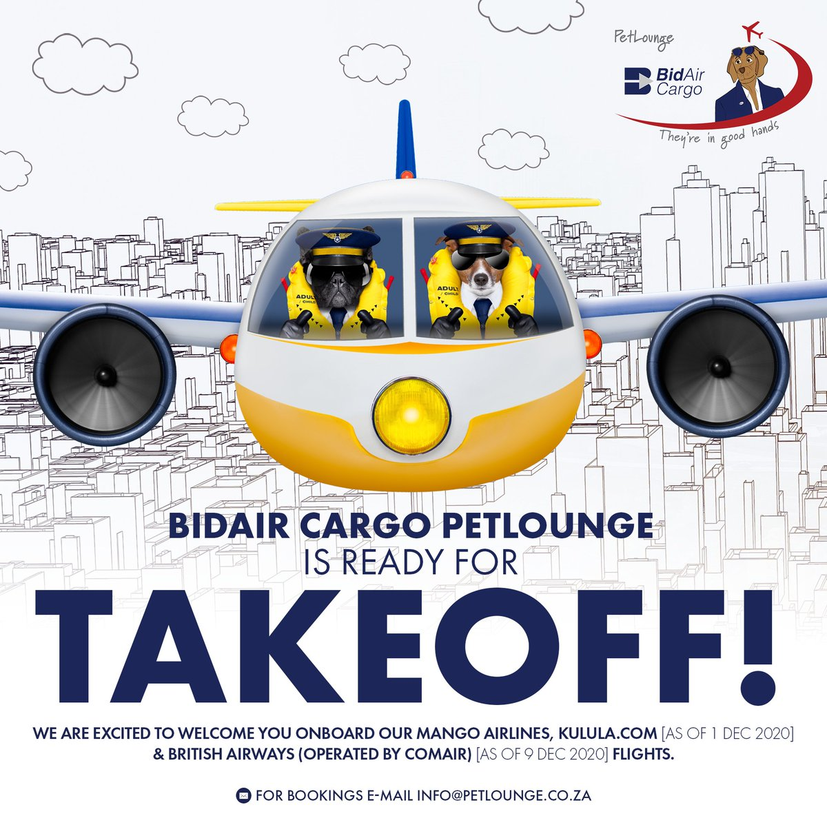 BidAir Cargo #PetLounge is ready for Takeoff! We are excited to welcome you onboard our Mango Airlines, https://t.co/g6GHistnjb [as of 1 Dec 2020] & British Airways (operated by Comair) [as of 9 Dec 2020] flights. ✈️ For Bookings e-mail info@petlounge.co.za 🐾 #SouthAfrica https://t.co/KyT46zPN25