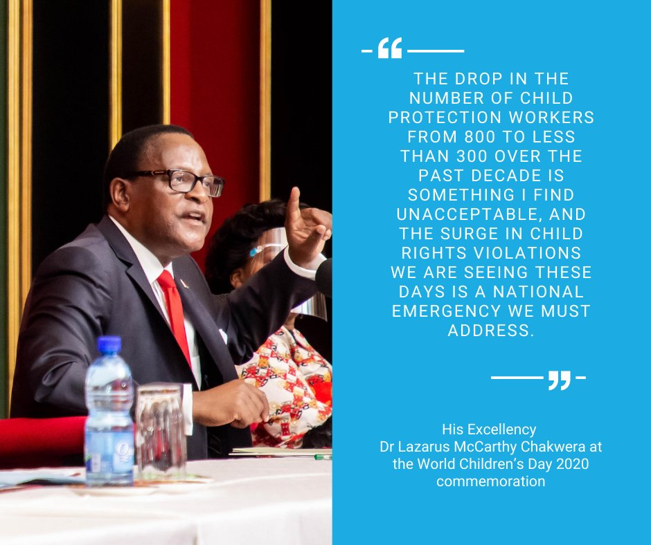 At this year's World Children's Day commemoration, the State President, Dr. Lazarus McCarthy Chakwera made concrete commitments to safeguard the rights of children in Malawi. 👏 👏   #ForEveryChild #WCD2020 https://t.co/O0ltTSHN5Y