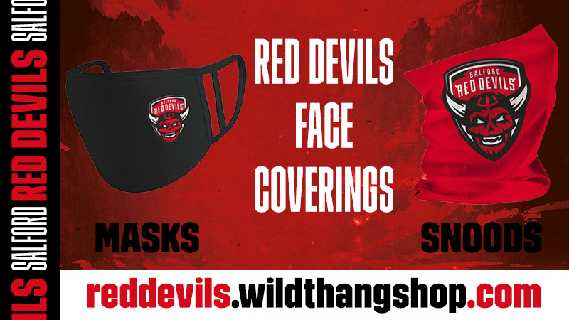 😷 Salford Red Devils face coverings are back in stock, featuring our new badge!  💪 #TogetherStronger  🛒 Buy online via @WildThangKits👉