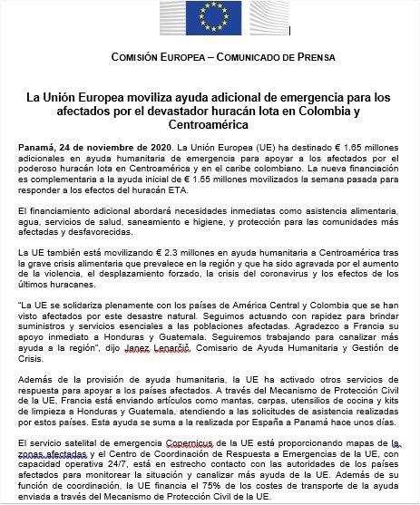 #Solidaridad 🇪🇺  Movilizamos ayuda europea de emergencia para atender a víctimas de los desastres naturales en el Caribe Colombiano y Centroamérica 🇪🇺🤝🇨🇴    #TeamEurope #IOTA #ULTIMAHORA @ECHO_LatAm @CancilleriaCol