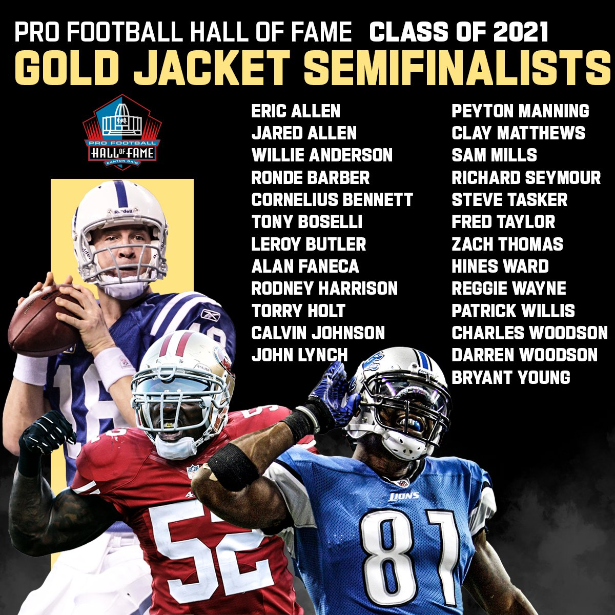 Replying to @nflnetwork: The 2021 @profootballhof Gold Jacket Semifinalists!