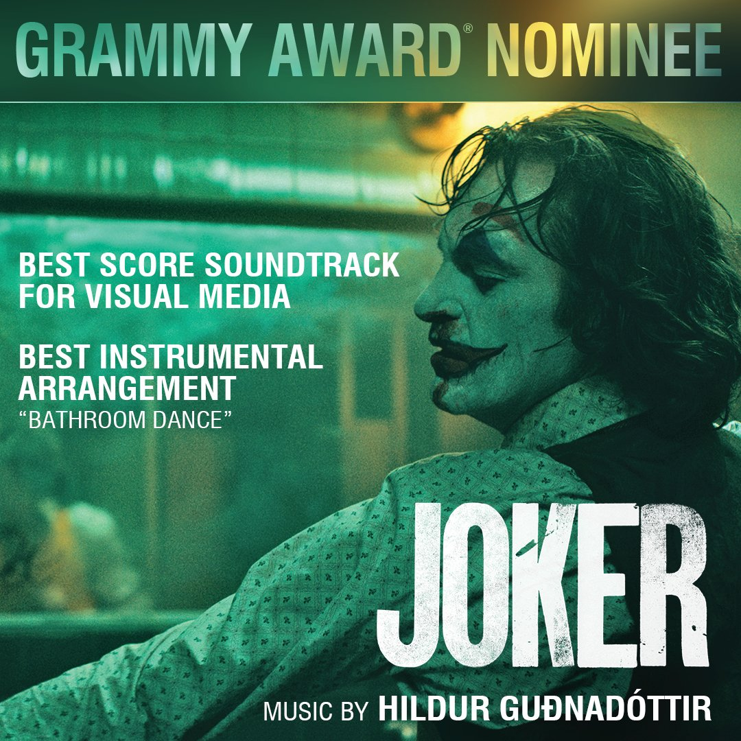 Congrats to the incredibly talented @hildurness on her TWO #GRAMMY nominations for Best Score & Best Instrumental Arrangement for her work on @jokermovie.  Check out the brilliance of her work here:  #Joker