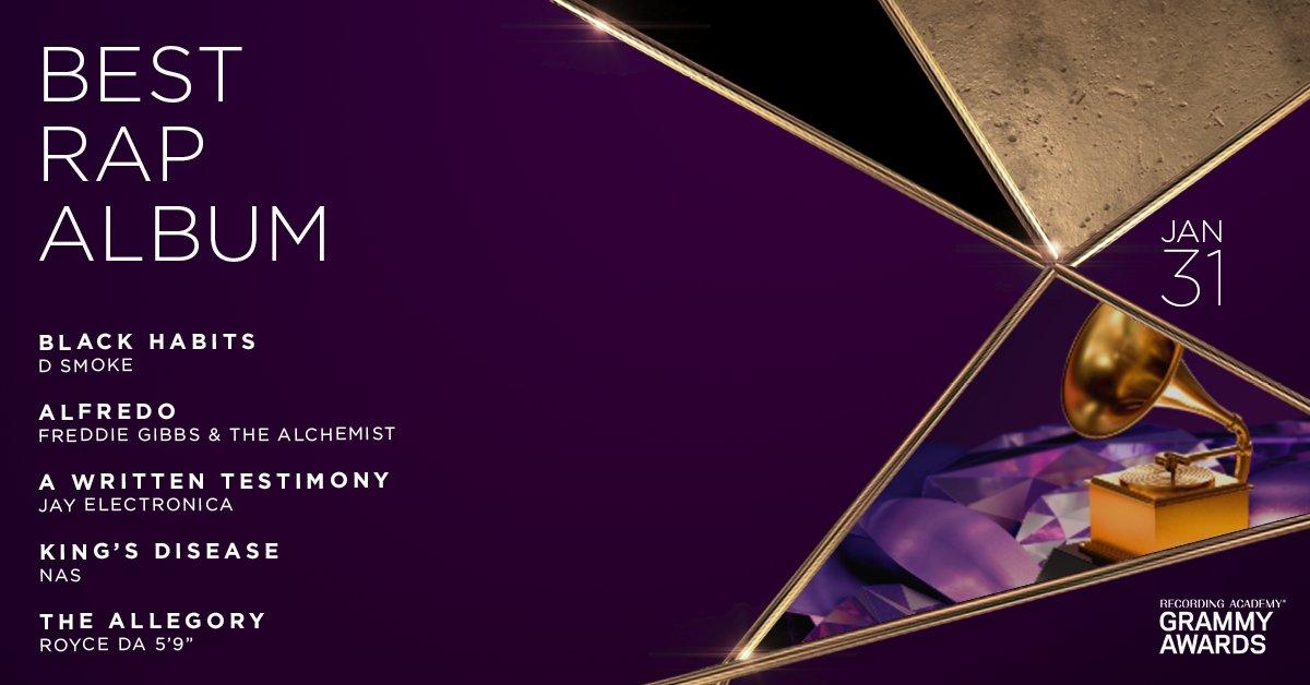 Congratulations 63rd #GRAMMYs Best Rap Album nominees: @DSmoke7, @FreddieGibbs, @Alchemist, @Nas, and @Royceda59: https://t.co/vmaSA9BCsf https://t.co/TpLzqDzdHs