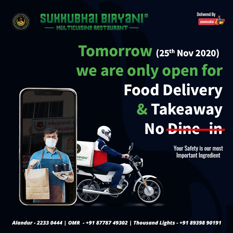 Owing to Nivar Cyclone, only takeaway and delivery available tomorrow.   We request you all to take care, be indoors and be safe.  Much love and God bless ❤️  #chennai #chennairains #nivar #nivarcyclone #staysafe #stayhome #SukkubhaiBiryani #sukkubhai #fooddelivery #takeawayfood