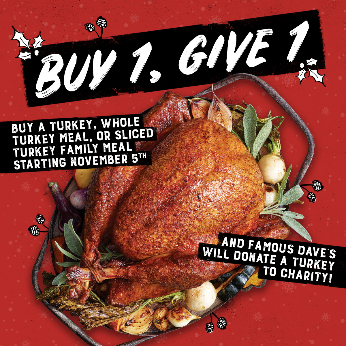 Haven't got your Thanksgiving turkey yet? @Famous_Daves has you covered. 🦃  For every turkey purchased from Famous Dave's locations in WA, they'll donate a turkey to @NWHarvest. 👊  Feed your family and a family in need!🍗