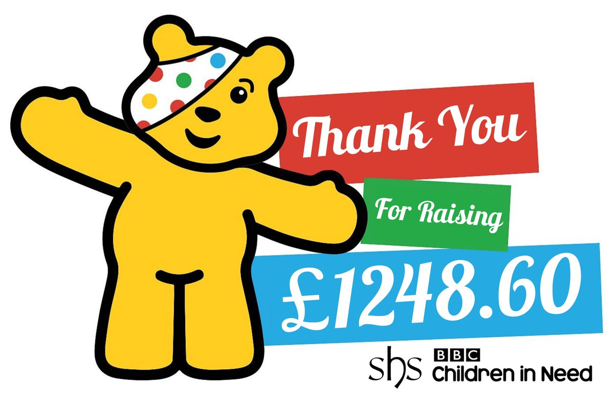 SHS has raised an amazing £1248.60 for @BBCCiN #childreninneed2020. Thank you to all of our parents, carers, students & staff for the donations #raisingandgiving #spiritoffun #childreninneed @BBCGlos #everythingispossible