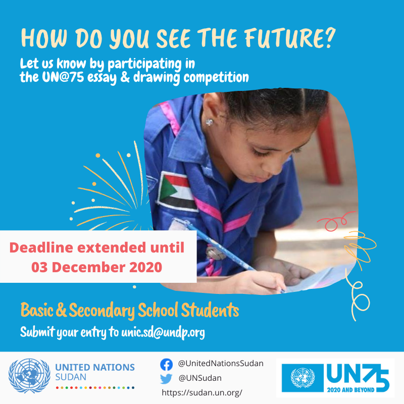 "DEADLINE EXTENDED!  How do you see the future?   Let us know by participating in the #UN75 essay & drawing competition! Open for students at basic & secondary school levels on the theme ""The Future We Want, The UN We Need."" more information here:  #UNDay"