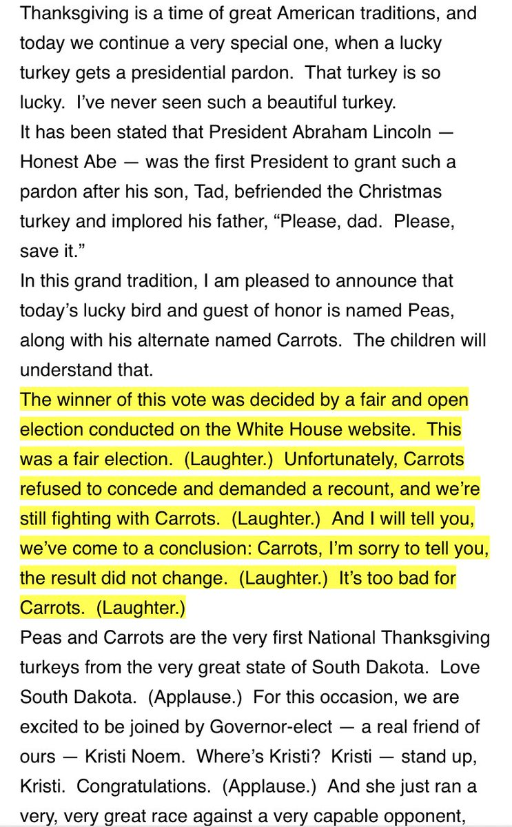 A reminder of what President Trump said about fair elections, refusals to concede and recounts... at the 2018 🦃 pardon. The president is expected to participate in this year's event later today. (via @FreddieTunnard)
