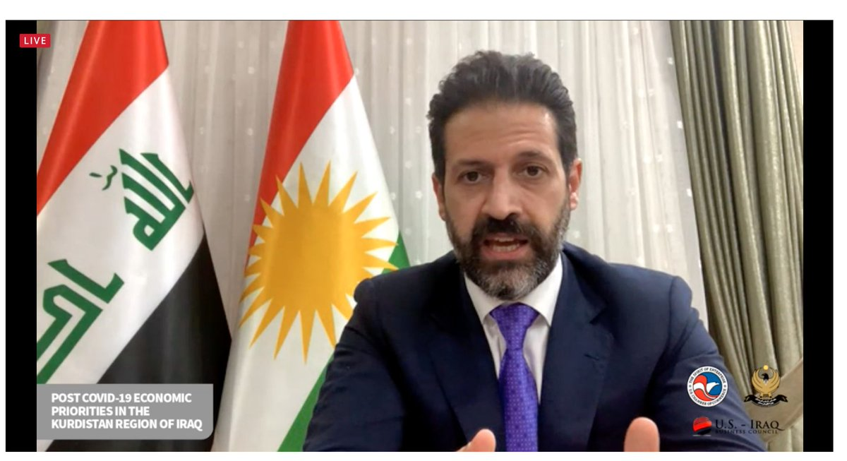 KRG Deputy Prime Minister @qubadjt speaking at #InvestKurdistan on Enabling the Drivers of Economic Growth: We have to do this [reform] in this COVID climate...we have a government with a lot of bureaucracy..we are cutting the bureaucracy; we want to set up a company in 24 hours