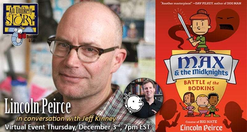 Next week, long time friends @LincolnPeirce and @wimpykid will in conversation together, discussing Lincoln's sequel to his #middlegrade #graphicnovel, MAX AND THE MIDKNIGHTS. Hilarity will ensue! Don't miss it! Save your spot in the free event at