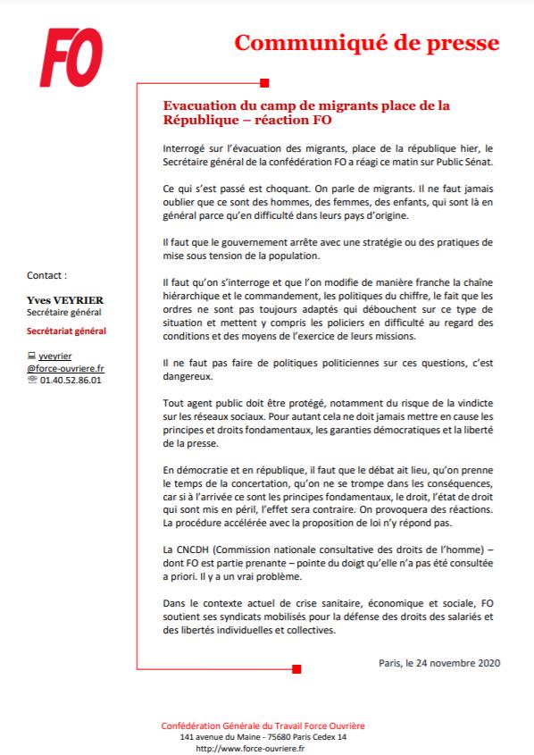 [#Communiqué] Evacuation du camp de #migrants place de la République - Réaction FO ⬇️ https://t.co/56D5l0QgEE