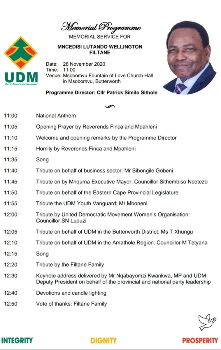 #RIPMncedisiFiltane: Here is the programme for Thursday's memorial service for the late Mncedisi Filtane, please note the venue change to Msobomvu Fountain of Love Church Hall, in Msobomvu, Butterworth. https://t.co/bAwz3gRngc