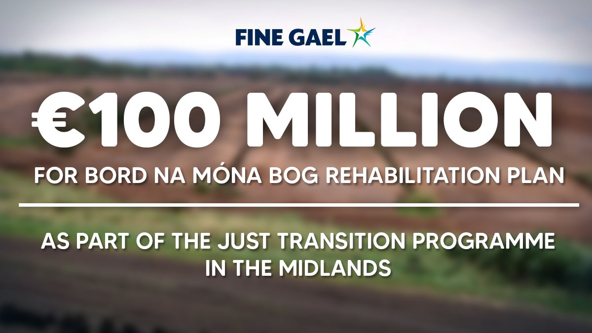 🌾Today, the Government announced a further €100 Million to help the Just Transition programme in the #Midlands.  This money will go towards helping the @BordnaMona Rehabilitation Plan to help us move towards a #greener Ireland. https://t.co/R0wBpXLfQu