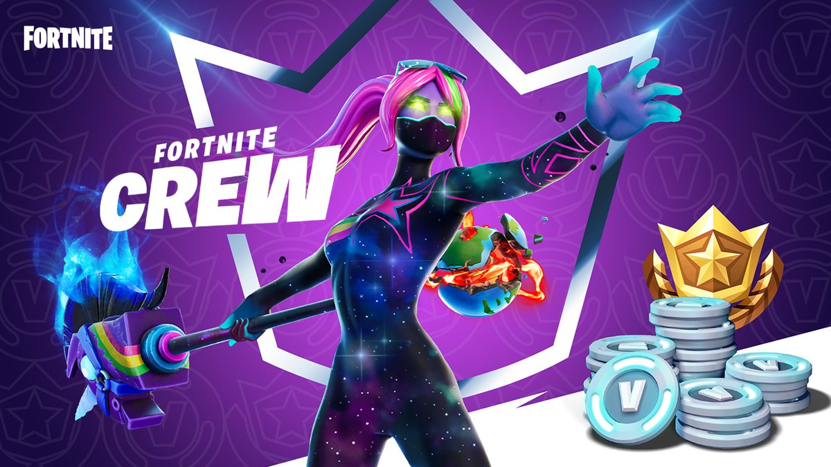 👑👑👑  Introducing the Fortnite Crew - the ultimate subscription offer for can't-miss Fortnite Content. What's included?  -The Battle Pass for Season 5. Yours to keep -An exclusive monthly Crew Pack -1,000 V-Bucks each month  Available Dec 2. More info: