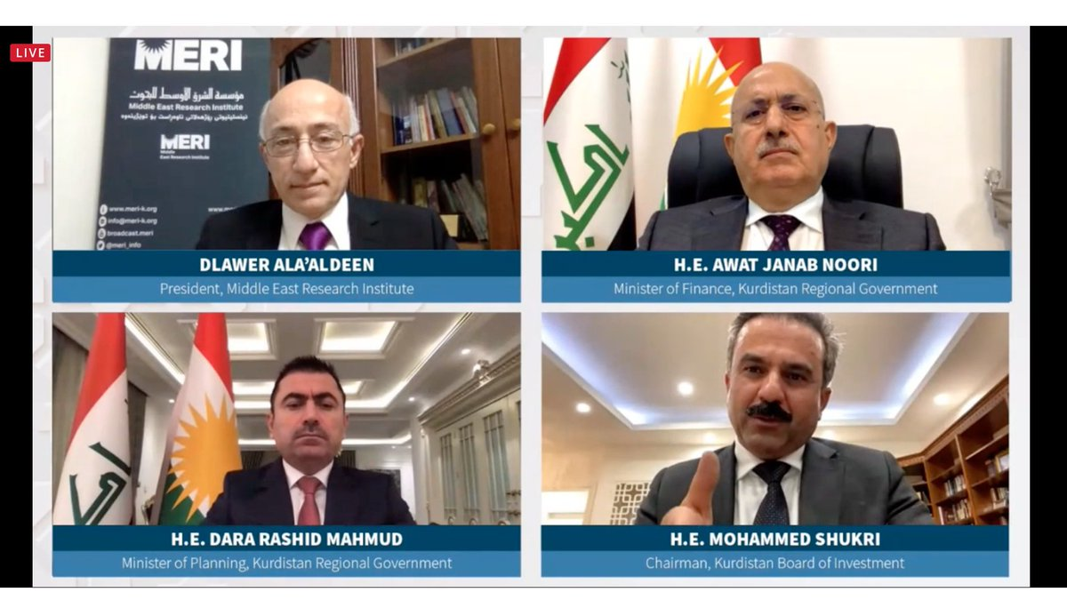 "During ""Post COVID-19 Economic Priorities in the Kurdistan Region of Iraq"" conference, Mohammed Shukri, Chair of #Kurdistan Board of Investment: ""Current investment laws are undergoing changes. Draft investment law provides foreign investors with same rights as local investors."""