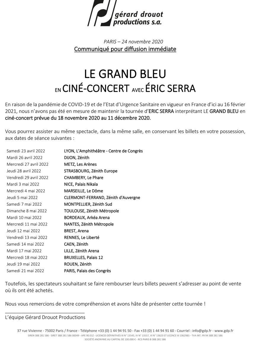 🔴 #COMMUNIQUÉ > Le Grand Bleu en ciné-concert ------------------------- 𝗥𝗘𝗣𝗢𝗥𝗧 du spectacle, initialement prévu ce 08 décembre, au mercredi 11 mai 2022 à 20h00. 🎟 Les billets resteront valables pour la nouvelle séance ! https://t.co/m3vIlqiHo5