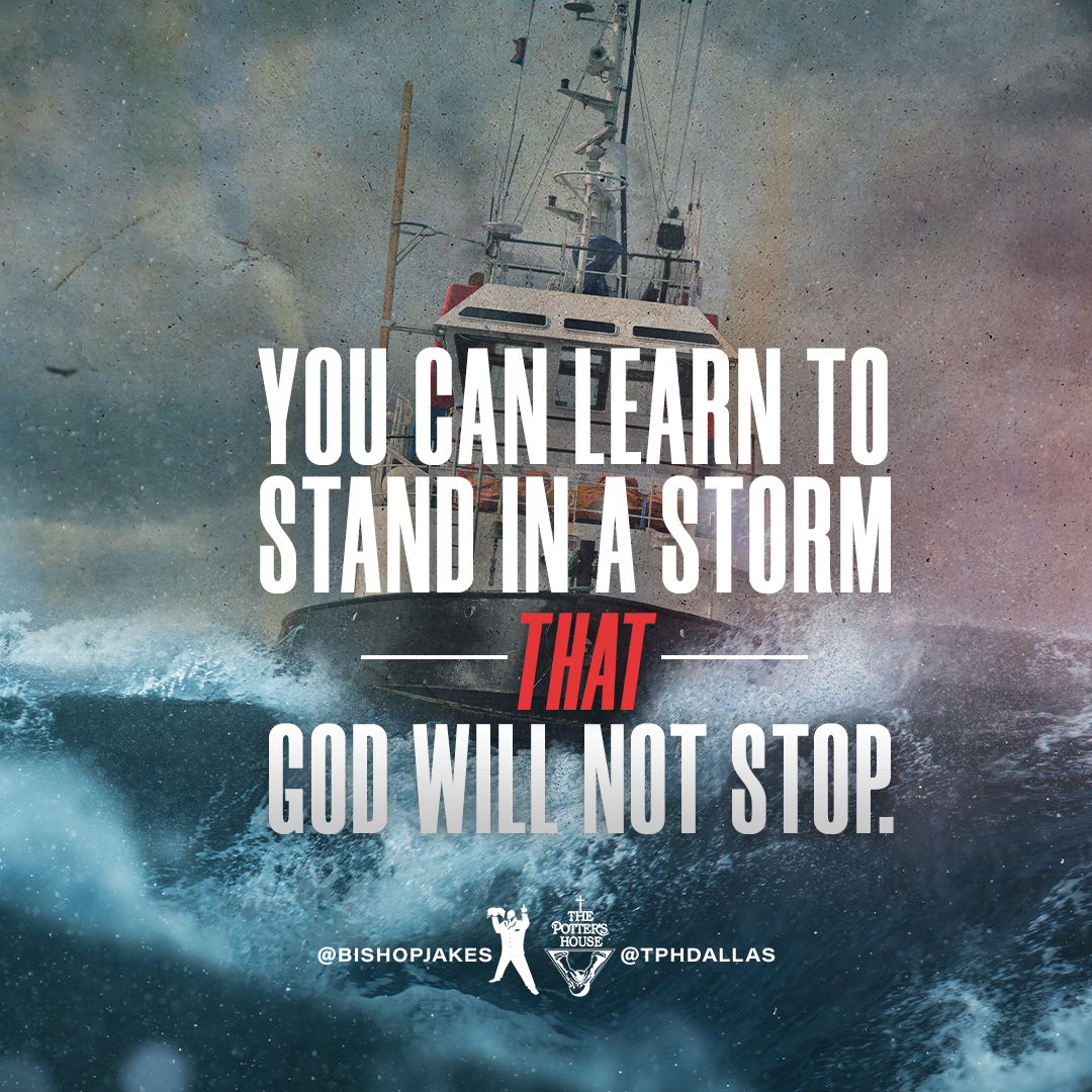You can learn to stand in courage through a raging storm by standing with the One who can walk right through it! (Matthew 14:22-33, NIV) When we stand together, we're #AllInTheSameBoat by @BishopJakes: YouTube.com/TDJakesOfficial #TDJOnline