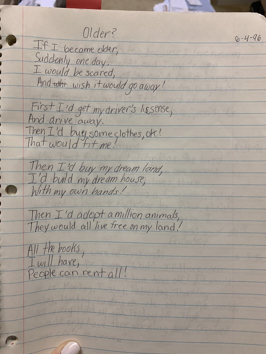 Here is a poem I wrote in 1996 about my plans for getting older