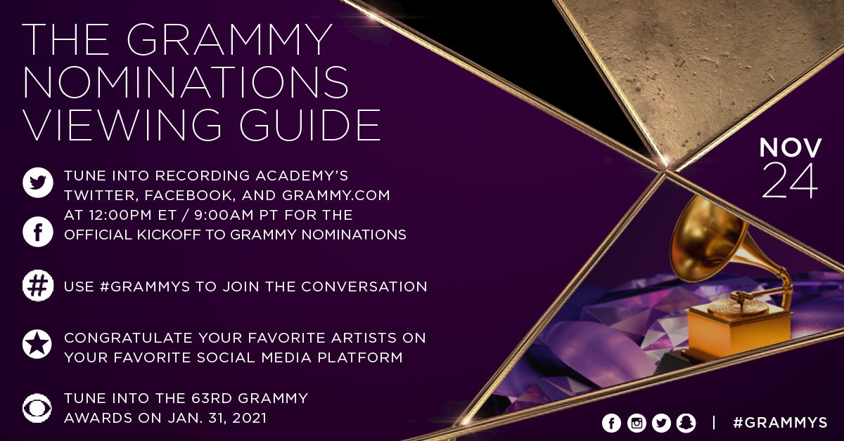 Replying to @RecordingAcad: GRAMMY nominations are TODAY! 🎶   Who do you think will be nominated for the 63rd #GRAMMYs?
