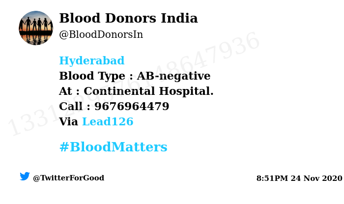 #Hyderabad Need #Blood Type :  AB-negative At : Continental Hospital.  Blood Component : Blood Number of Units : 2 Primary Number : 9676964479 Illness : Surgery  Via: @Lead126 #BloodMatters Powered by Twitter