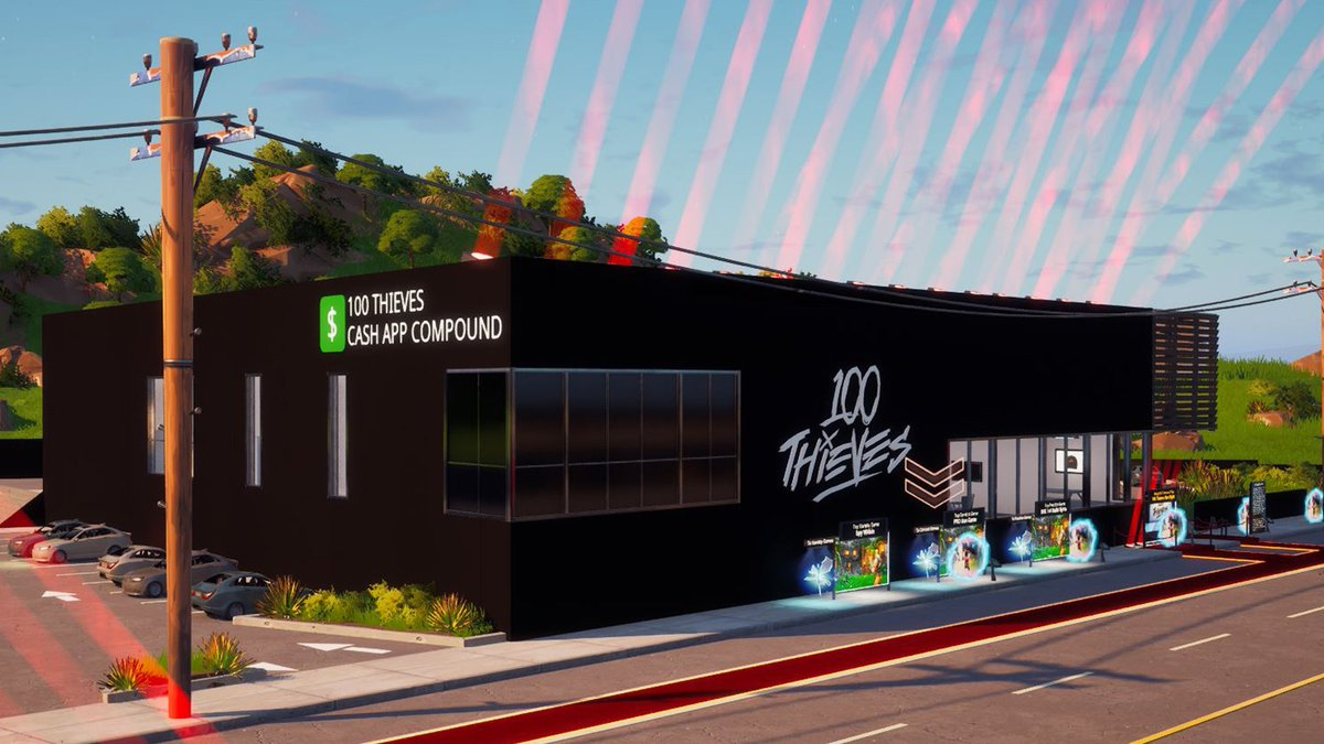100 Thieves x @FortniteGame   Welcome to the 100 Thieves Cash App Compound… in Fortnite! Packed with quests & easter eggs, our Compound is now fully explorable in Fortnite Creative.   Drop into the Creative Hub now!  @FNCreate | #100TCreative