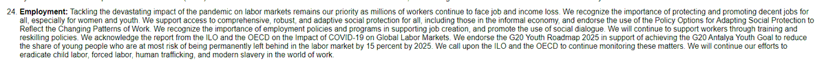 Here's a link to the #G20 leaders' declaration adopted over the weekend. The commitments on employment/labour are modest. No decision on the expansion of special drawing rights to boost social protection. #G20RiyadhSummit #G20SaudiArabia #G20Summit