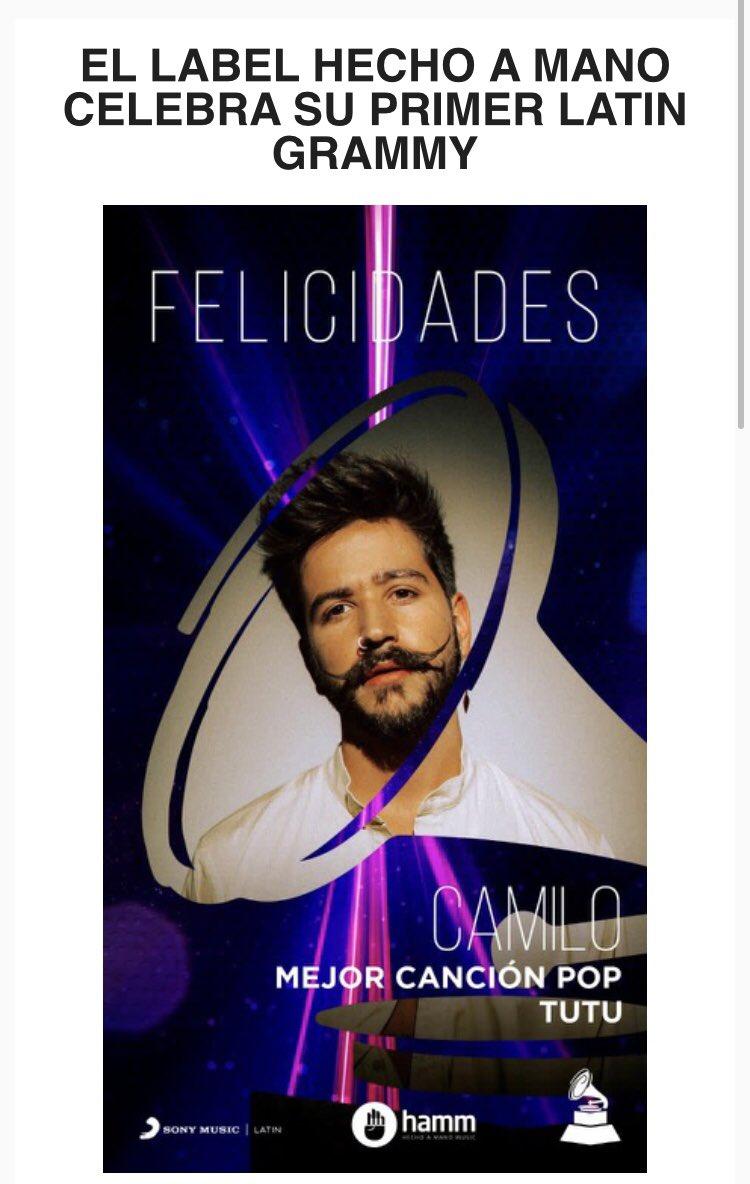 El sello discográfico HECHO A MANO celebra su primer LATIN GRAMMY 🥰  ¡Bravo, @montanertwiter! ¡Que sigan los éxitos! 👏😃 ¡Felicitaciones, @CamiloMusica! ¡Buen trabajo! 😊👍 #LatinGrammy #LatinGrammy2020 #RicardoMontaner #Camilo