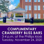 A pre-Thanksgiving treat! Students, stop by the Phillips kiosk from 3-4 p.m. today for a cranberry bliss bar! 🍒 #HPU365
