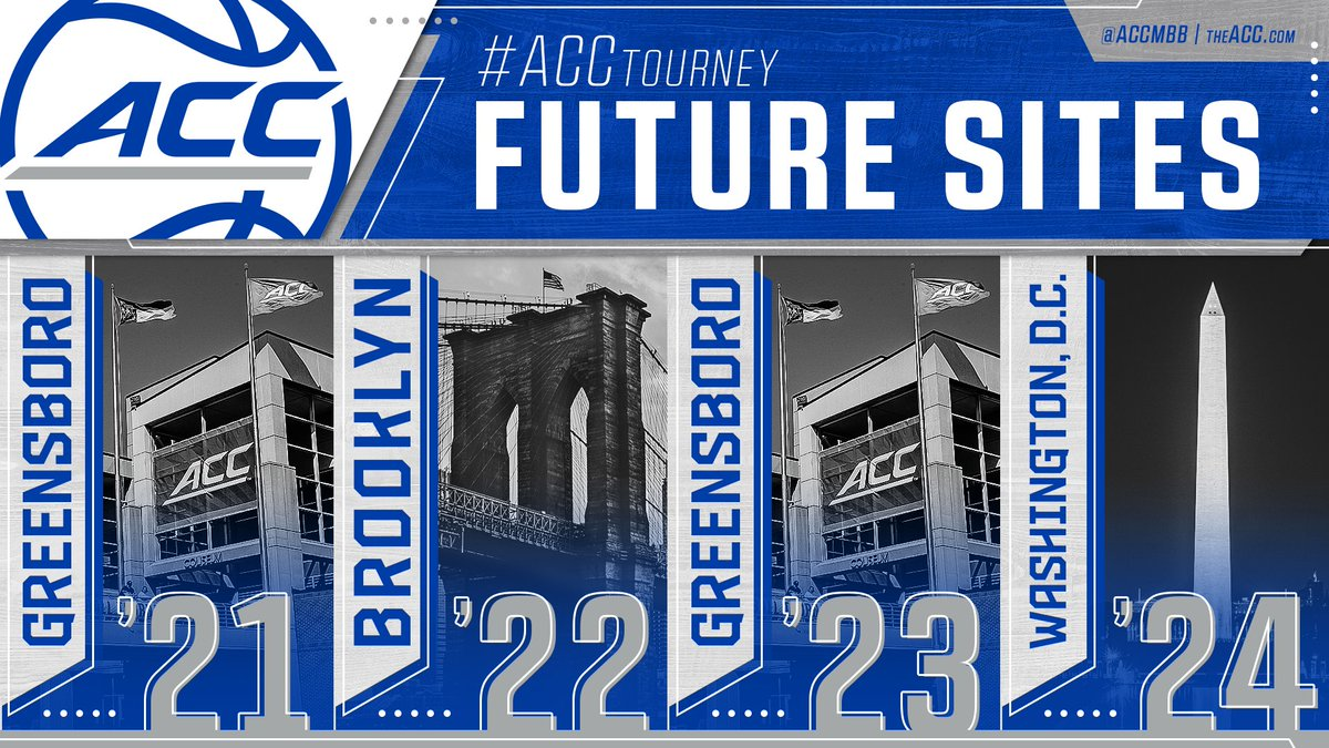 𝗧𝗼𝘂𝗿𝗻𝗮𝗺𝗲𝗻𝘁 𝗦𝗶𝘁𝗲 𝗨𝗽𝗱𝗮𝘁𝗲:  The 2021 #ACCTourney will be held in Greensboro, NC. Washington, DC will now play host to the 2024 Tournament.  Read more » https://t.co/HWqMzDD6HG https://t.co/TgNmTaBpRj