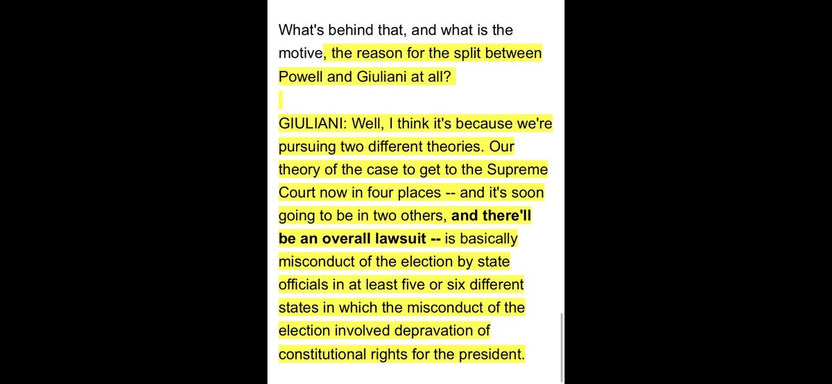 Lou Dobbs: Why the split with Sidney Powell? Rudy: It's all part of our plan to get *four* cases to SCOTUS