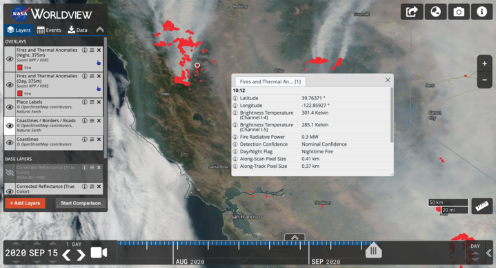 New #NASAWorldview vector layers allow you to get more information about fires and other thermal anomalies. Zoom in to any fire point, click, and learn more about that fire, including the time it was detected.