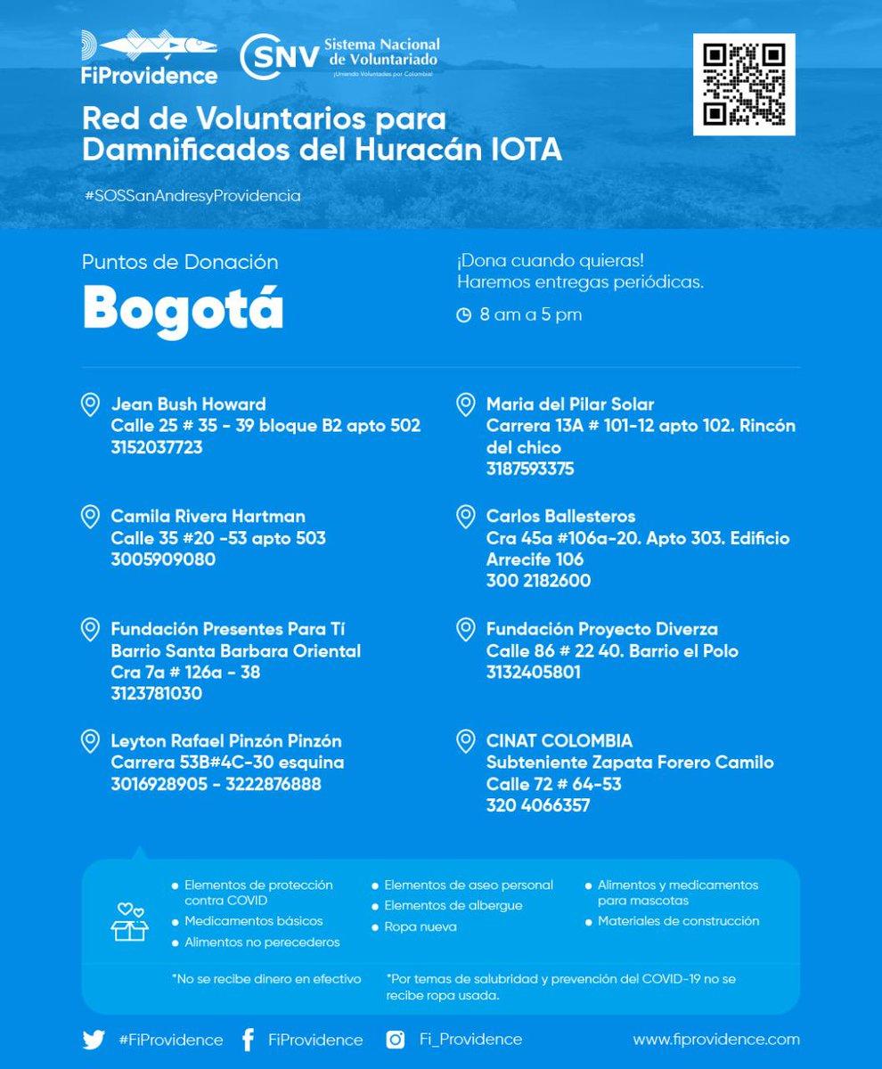 @FiProvidence nos comparte los puntos de acopio habilitados en Bogotá para donar y apoyar a San Andrés, Providencia y Santa Catalina. Podemos apoyar a las personas del país que necesitan. #SOSSanAndresyProvidencia . Visita a través de  y sé parte del cambio