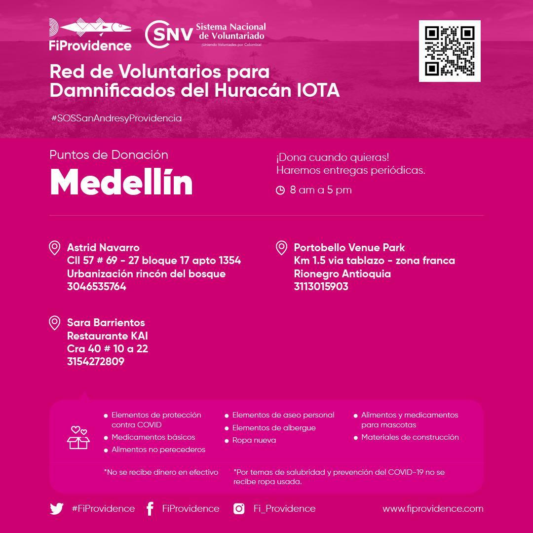 Si estás en #Medellín únete a la Red de Voluntarios y Damnificados del Huracán Iota. Con tu ayuda podemos contribuir a las personas damnificadas por   el Huracán Iota. #SOSSanAndresyProvidencia Recuerda visitar   y sé parte del cambio #ColombiaCuidaColombia