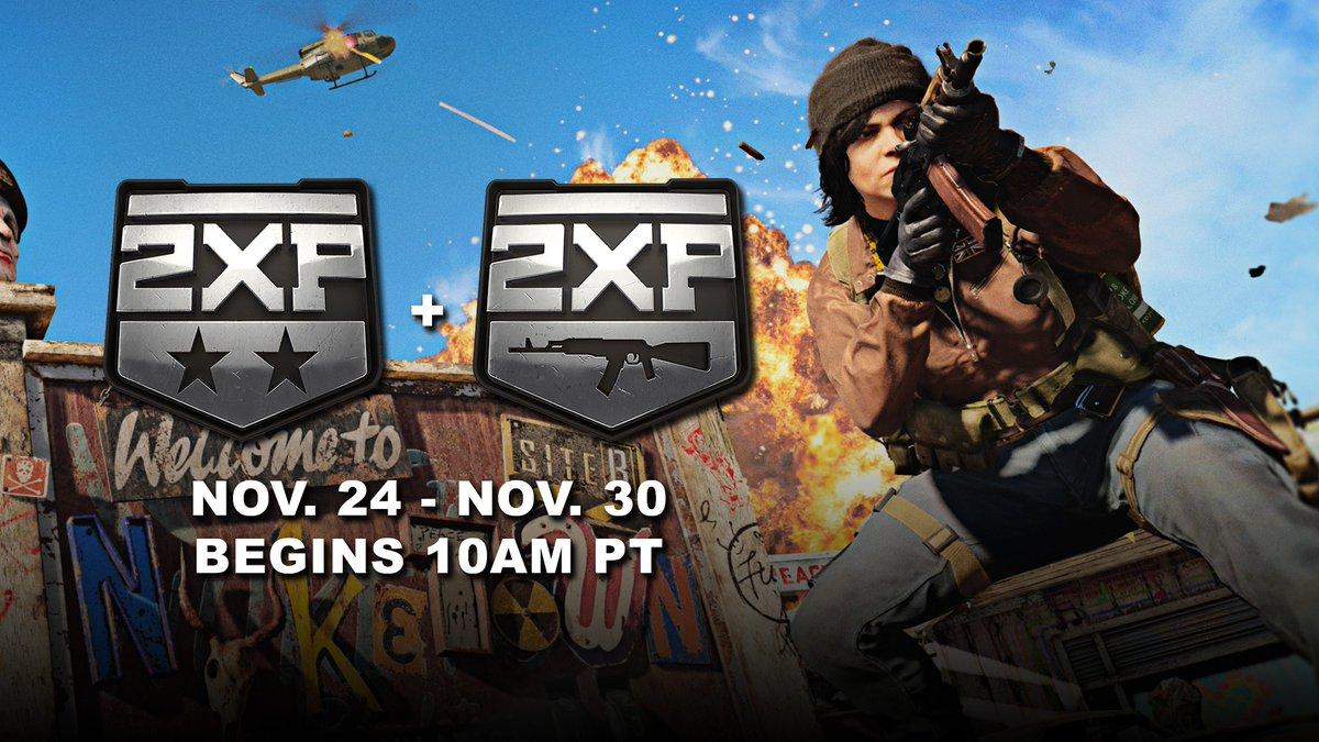 ✅ Double XP ✅ Double Weapon XP  Now live all week long. #BlackOpsColdWar