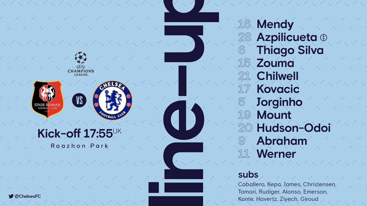 Here's tonight's team news! 👕 #RENCHE