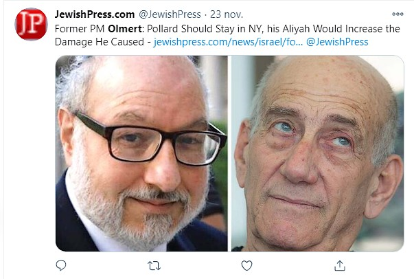 November 22, 2020: Former Israeli Prime Minister Ehud Olmert, who had been condemned for receiving bribes, said that American Jewish ex-Navy Analyst Jonathan Pollard, who had spied for Israel, has completed parole and is free, should not make his aliyah!  https://t.co/7gEfQUhprC https://t.co/hKVDY7Jel0