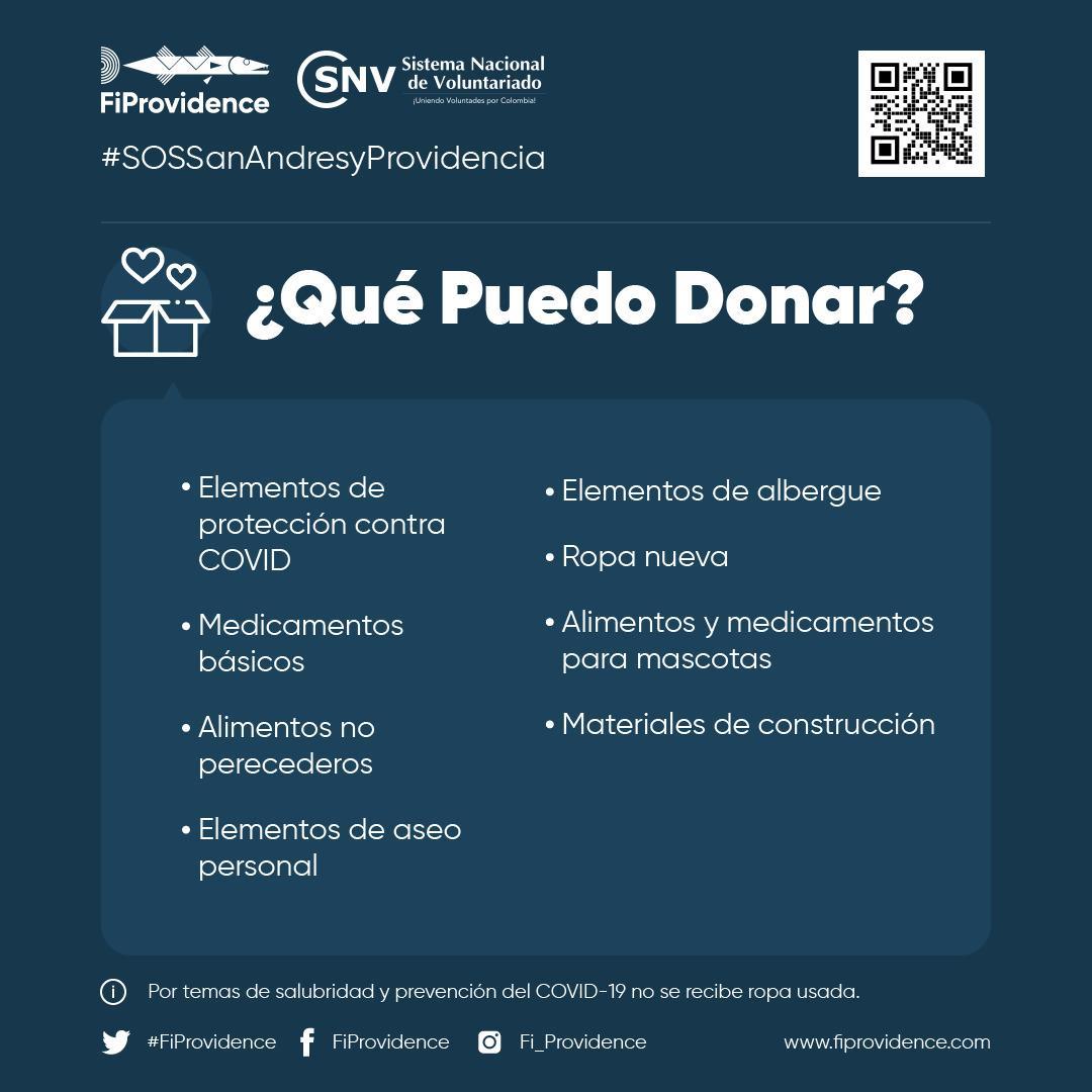 #SOSSanAndresyProvidencia @FiProvidence | Entre las cosas que puedes donar para apoyar a las personas afectadas por el #HuracánIota. . Visita  y sé parte del cambio. #ColombiaCuidaColombia