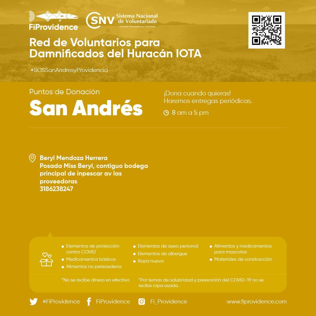#SOSSanAndresyProvidencia | 📣 En #SanAndrés también reciben las donaciones para los afectados por el huracán en el archipiélago @FiProvidence   . Visita 👉  y sé parte del cambio. #ColombiaCuidaColombia