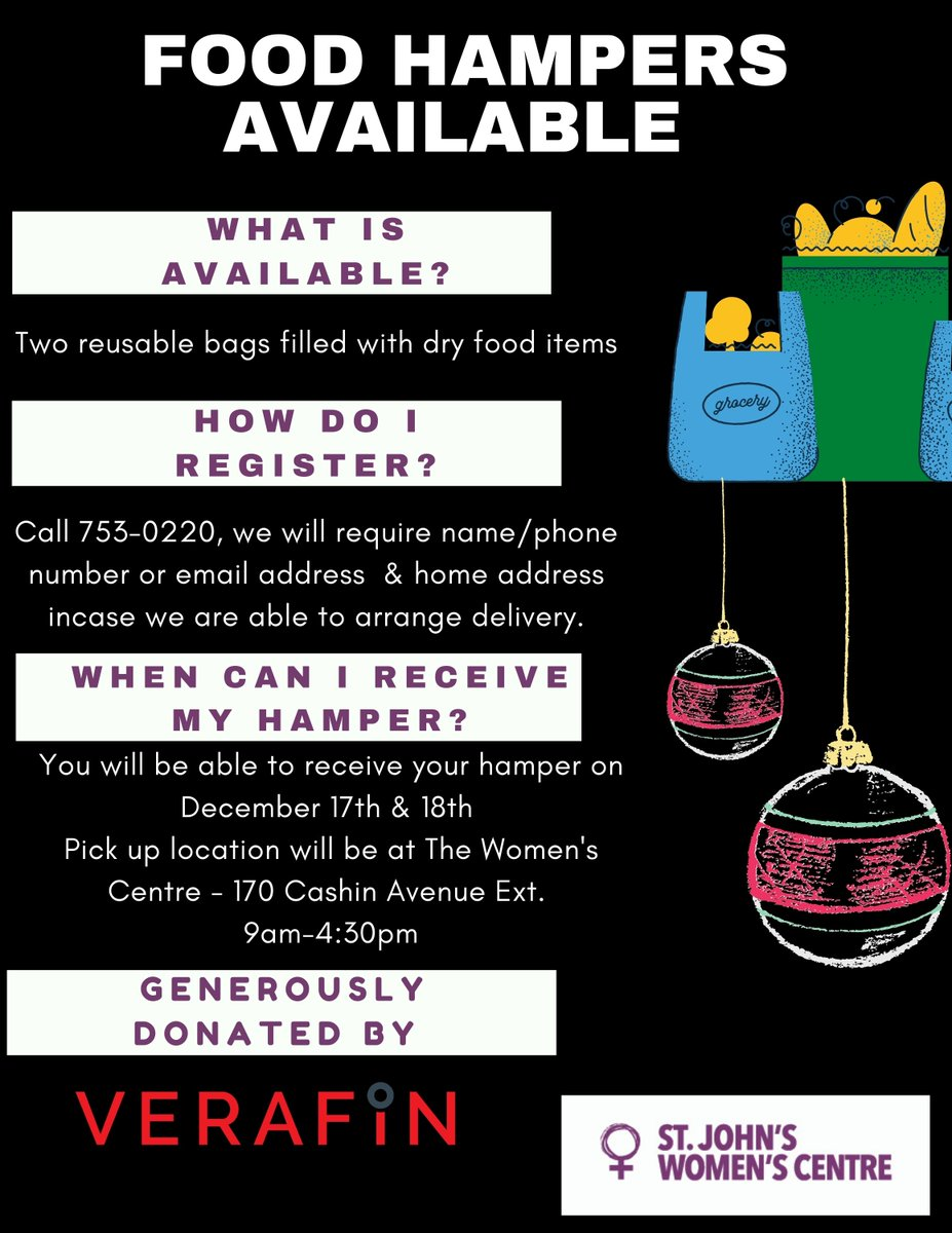 Verafin has generously organized and will be donating 120 dry food holiday hampers for women! You can register through then Women's Centre by calling 753-0220. Registration will close Friday Dec. 11th 4:30pm. https://t.co/PMI1qknIw4